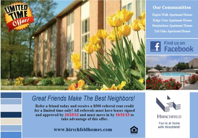 Hirschfeld Apartment Homes Resident Referral Program