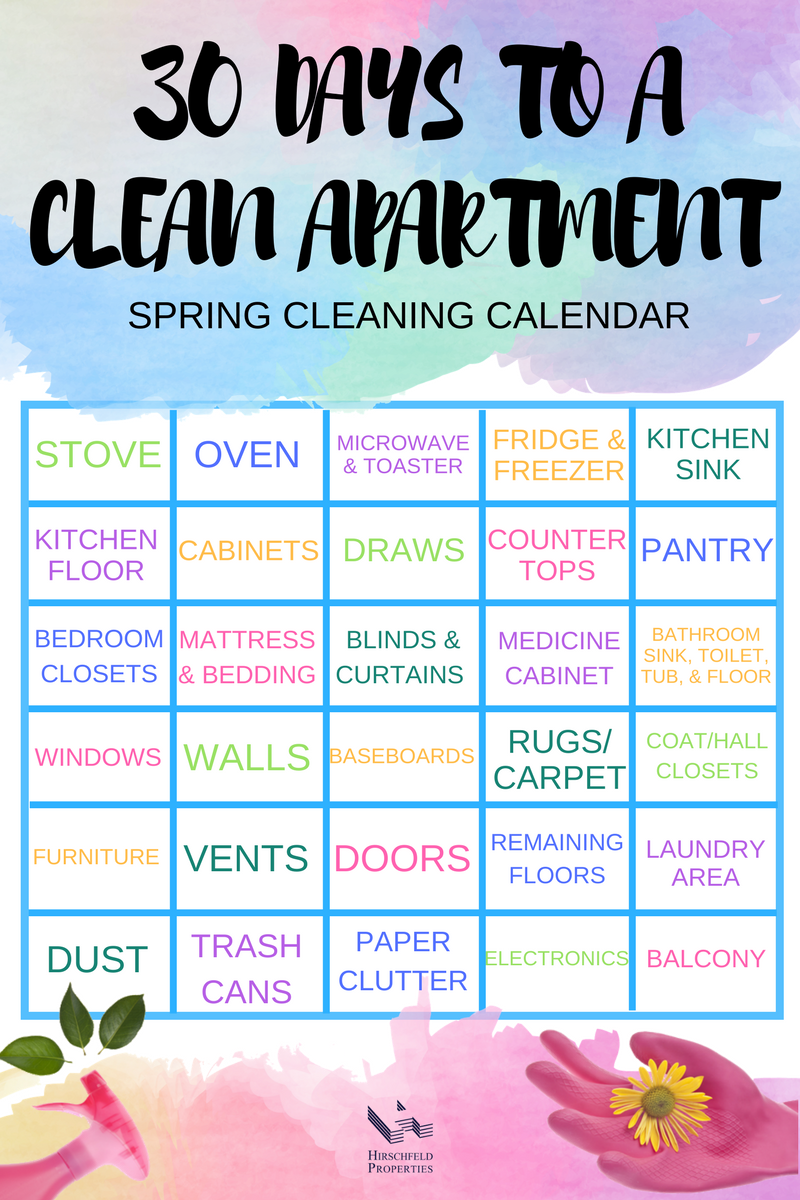 30 days to a clean apartment challenge print out spring cleaning calendar