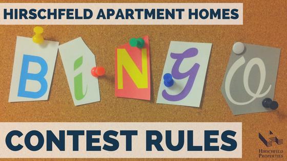 hirschfeld apartment homes bingo contest rules