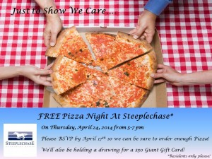 Apartments_cockeysville_MD_steeplechase_pizza_night_for_residents_april_24_2014