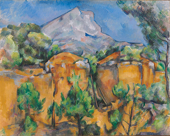 Paul Cezanne's Mont Sainte-Victoire Seen from the Bibemus Quarry on display in the Baltimore Museum of Art