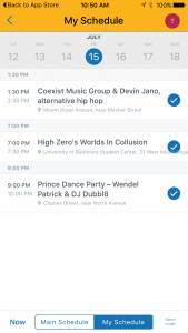 Artscape Mobile App My Schedule