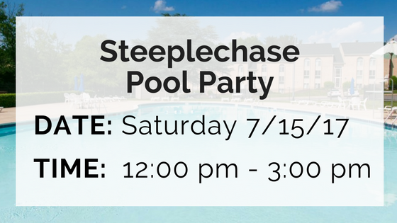 steeplechase pool party saturday july 15 from 12 until 3 pm