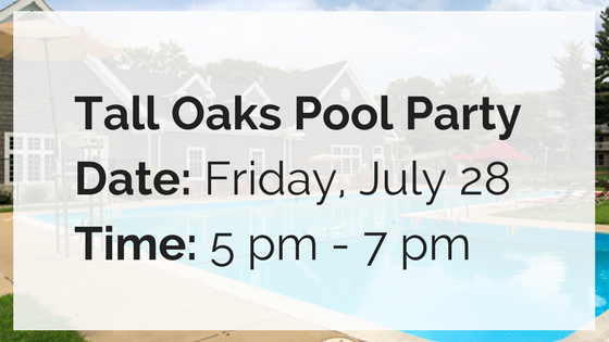 tall oaks pool party friday july 28 from 5 pm until 7 pm
