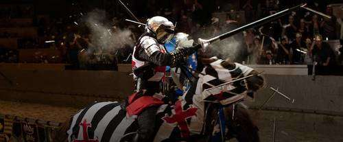 medieval times knight jousting on horseback