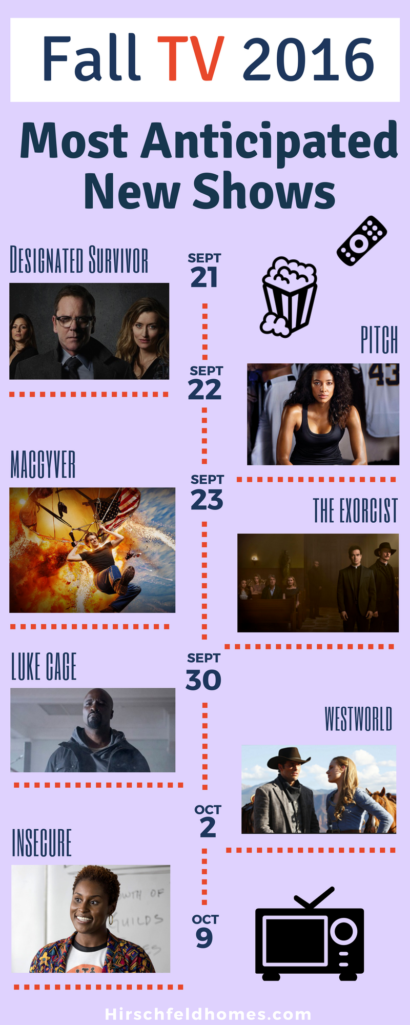fall tv 20016 must watch premieres watch designated survivor september 21, pitch september 22, macgyver and the exorcist september 23, luke case september 30, westworld october 2, insecure october 9