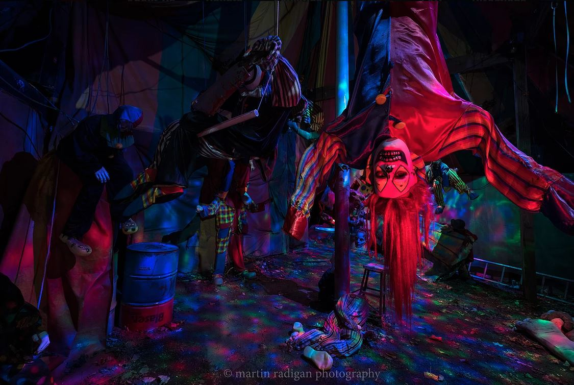 haunted upside down clown attraction at markoff's haunted forest