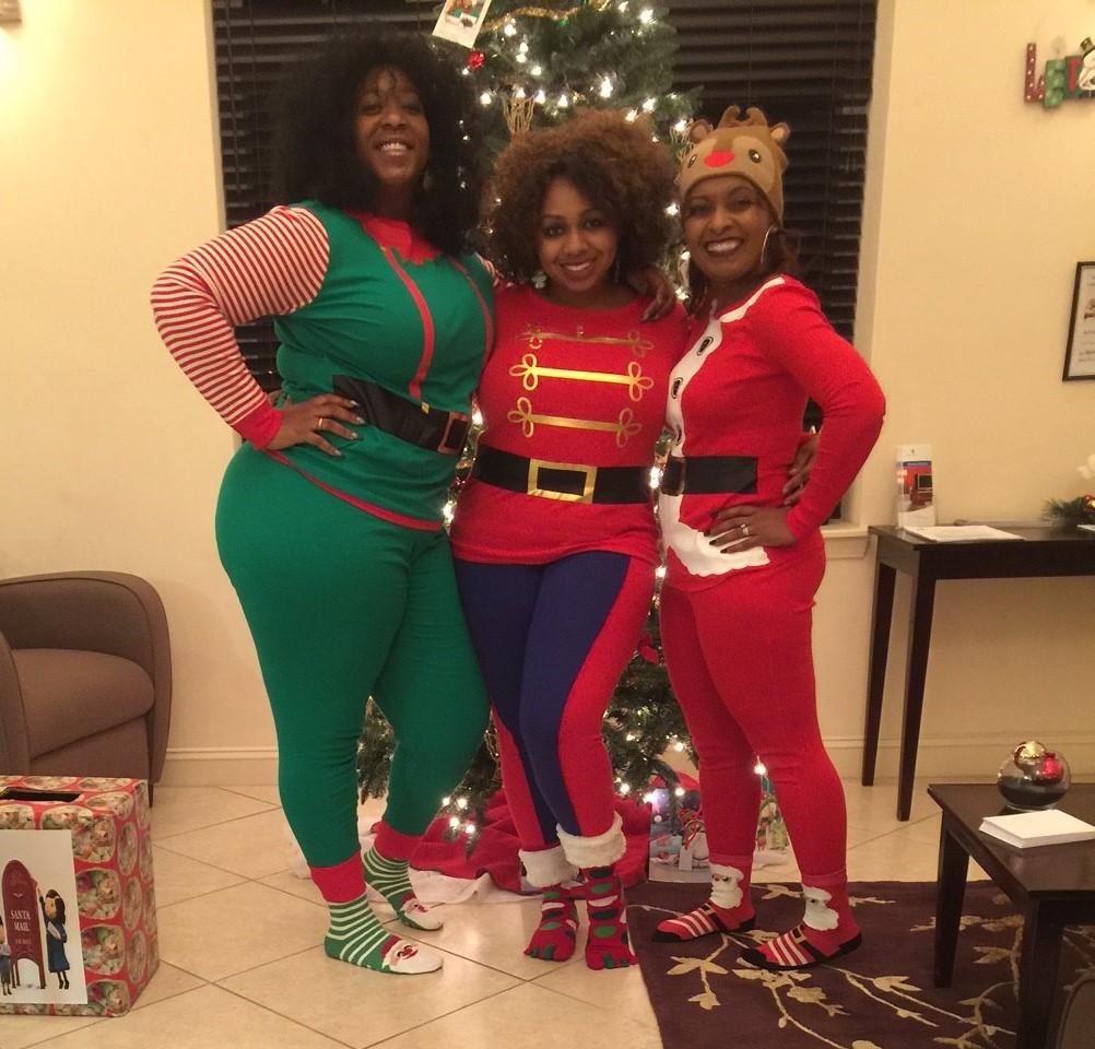 tall oaks staff dressed in festive pajamas