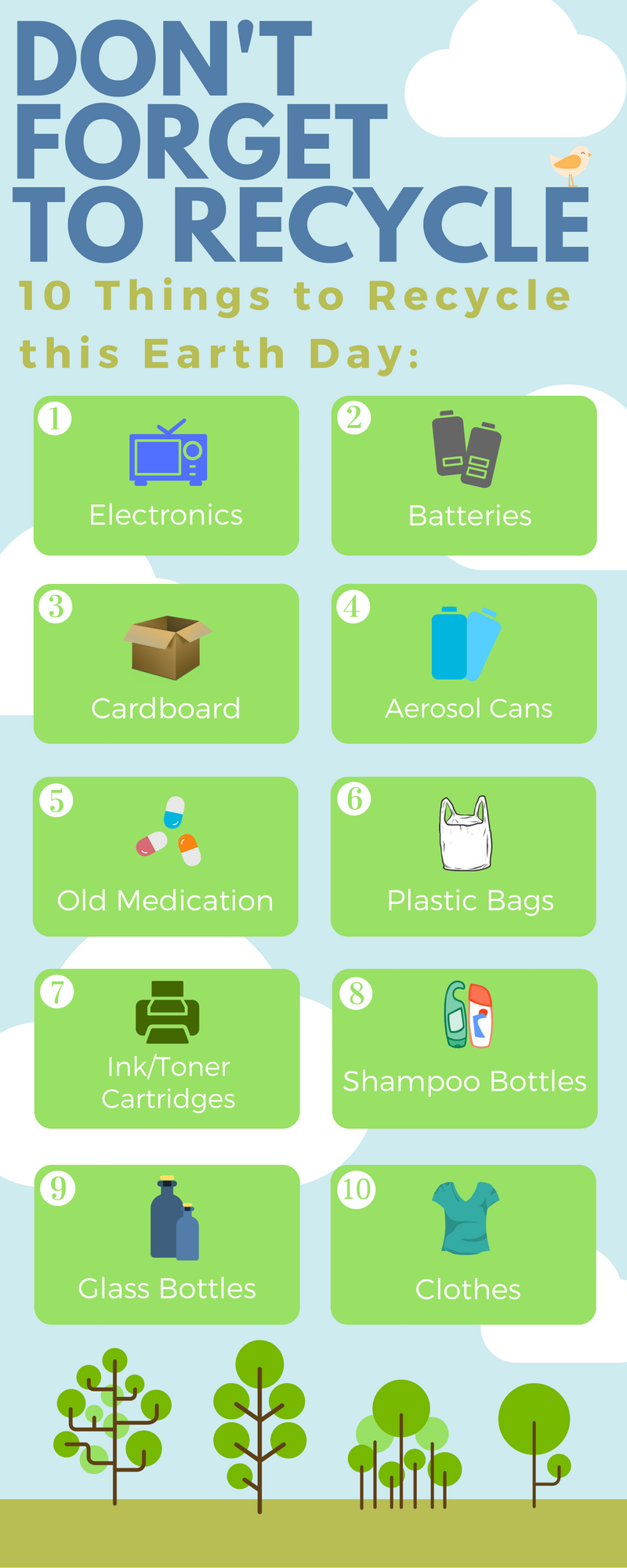 ten items people commonly forget to recycle are electronics, batteries, cardboard, aerosol cans, old medication, plastic bags, ink and toner cartridges, shampoo bottles, glass bottles, and clothes