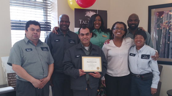 staff at tall oaks apartments in laurel maryland award miguel the hirschfeld homes good samaritan award