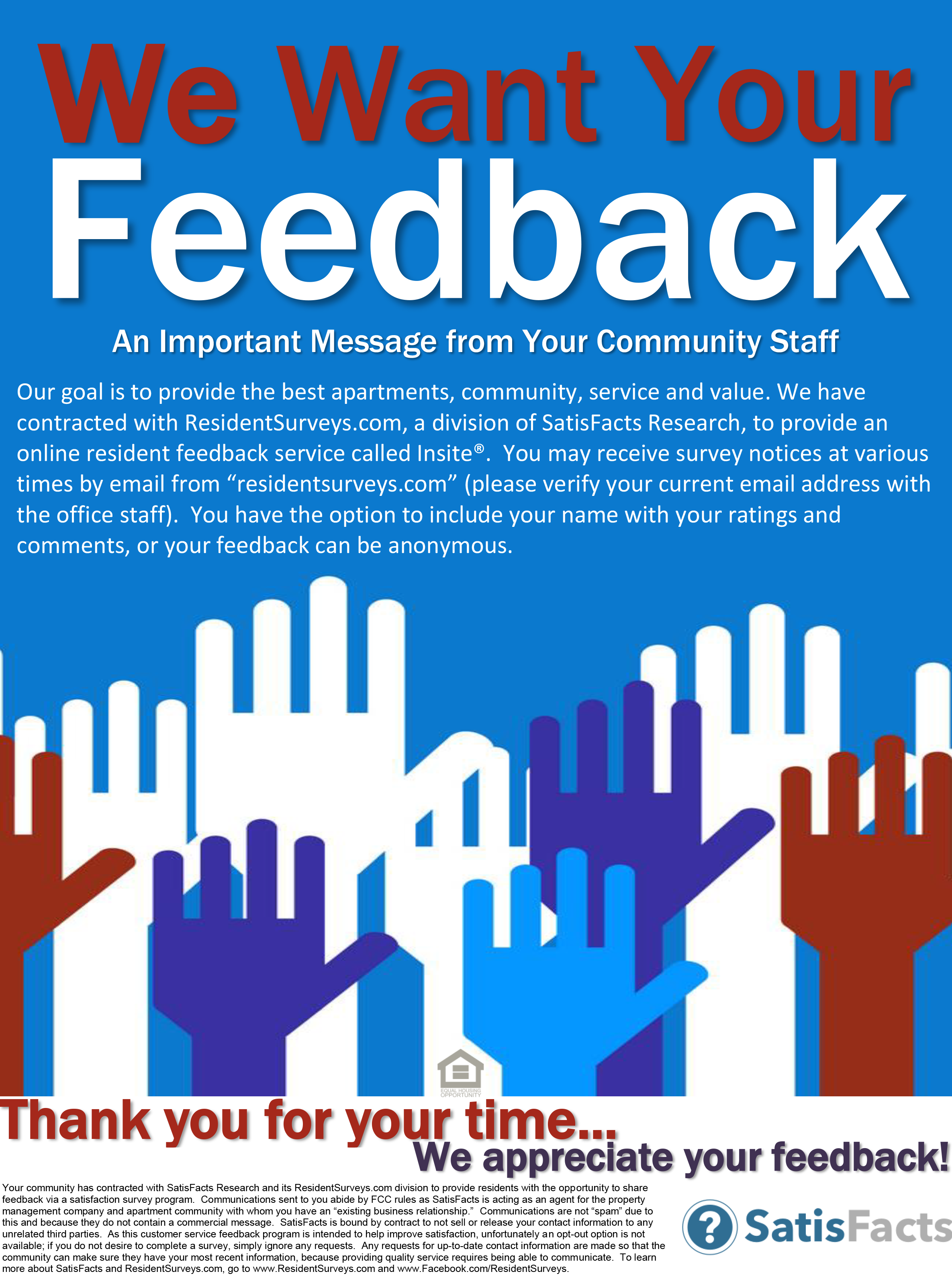 satisfacts poster we value your feedback