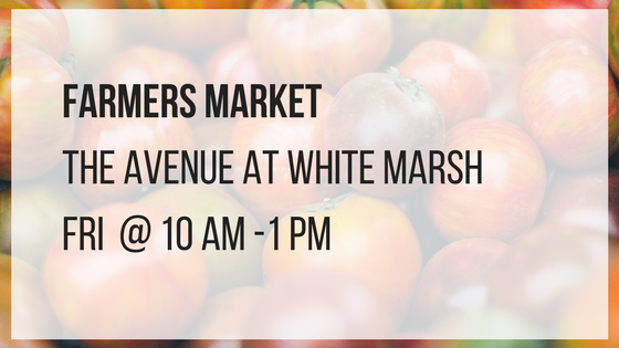 farmers market at the avenue at white marsh fridays from 10 am until 1 pm