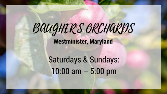 baughers orchards westminister maryland saturdays and sundays 10 am until 5 pm
