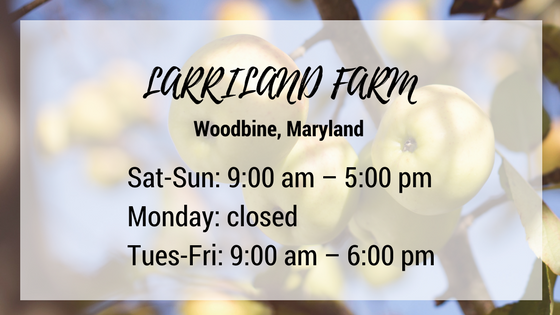 larriland farm woodbine maryland saturday through sunday 9 am until 5 pm monday closed tuesday through friday 9 am until 6 pm