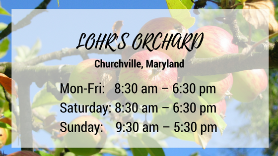 lohrs orchard churchville maryland monday through friday 8:30 am until 6:30 pm saturday 8:30 am until 6:30 pm sunday 9:30 am until 5:30 pm