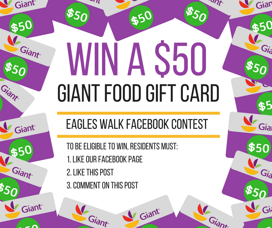 win a fifty dollar giant food gift card at eagles walk facebook contest rules