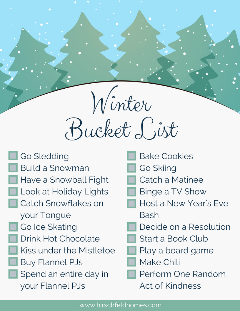 winter bucket list printable checklist