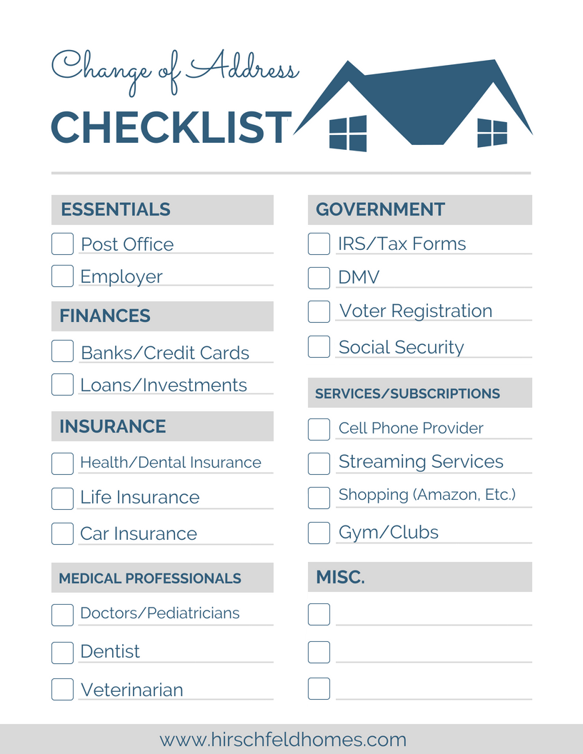 change of address checklist hirschfeld homes apartments