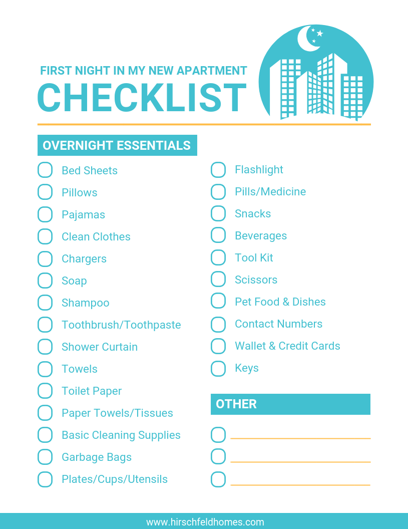 first-night-in-new-apartment-checklist | Hirschfeld