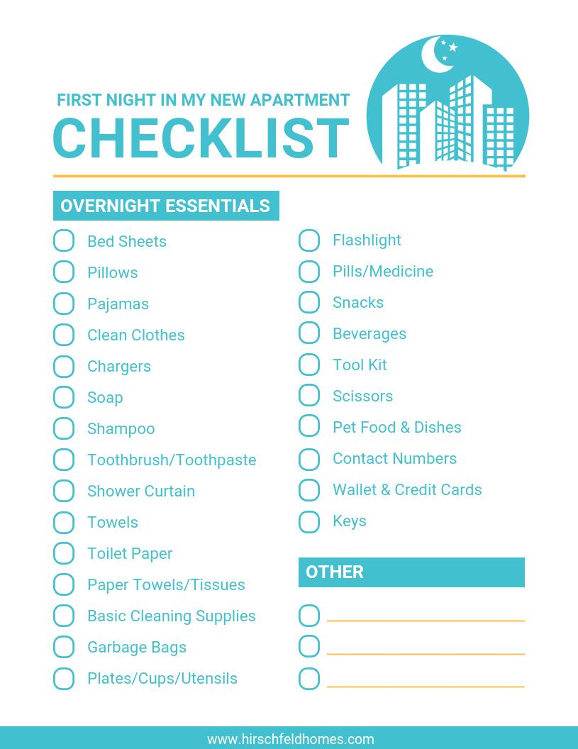 first-night-in-new-apartment-checklist | Hirschfeld