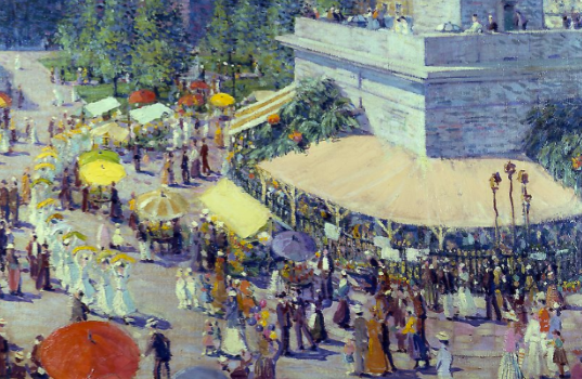 painting of the 1915 Flower Mart by Baltimore artist Griffith Baily Coale.