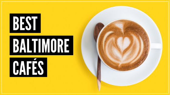 Text Best Baltimore Cafes, Photo cup of coffee on yellow backdrop